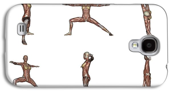 Concentration Digital Galaxy S4 Cases - Six Different Views Of Warrior Yoga Galaxy S4 Case by Elena Duvernay