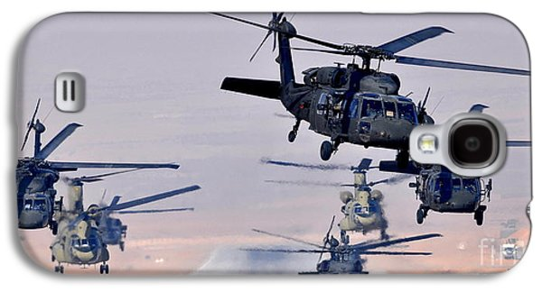 3rd Base Galaxy S4 Cases - Six UH-60L Black Hawks and two CH-47F Chinooks Galaxy S4 Case by Paul Fearn