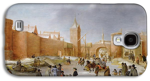 Sledge Galaxy S4 Cases - Skaters And Kolf Players Outside The City Walls Of Kampen Oil On Panel Galaxy S4 Case by Barent Avercamp