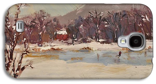 New England Snow Scene Paintings Galaxy S4 Cases - Skating on Winter Pond  Galaxy S4 Case by Russ Potak