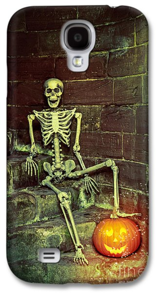 Creepy Galaxy S4 Cases - Skeleton On The Steps Galaxy S4 Case by Amanda And Christopher Elwell