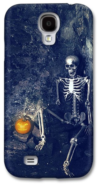 Graveyard Galaxy S4 Cases - Skeleton With Jack O Lantern Galaxy S4 Case by Amanda And Christopher Elwell