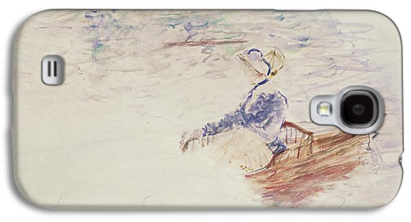 Boats In Water Galaxy S4 Cases - Sketch of a Young Woman in a Boat Galaxy S4 Case by Berthe Morisot