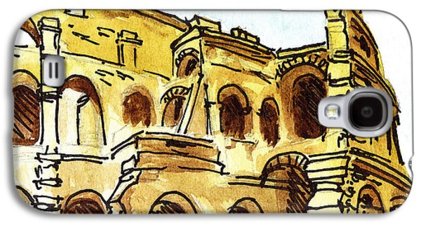 Cathedral Rock Galaxy S4 Cases - Sketching Italy Rome Colosseum Ruins Galaxy S4 Case by Irina Sztukowski
