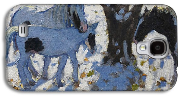 Winter Light Paintings Galaxy S4 Cases - Skewbald Ponies in Winter Galaxy S4 Case by Andrew Macara