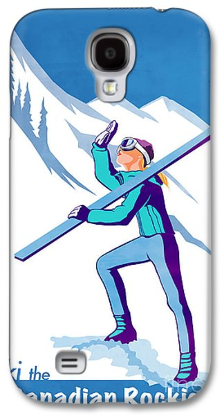 Skiing Posters Paintings Galaxy S4 Cases - Ski the Rockies Galaxy S4 Case by Sassan Filsoof
