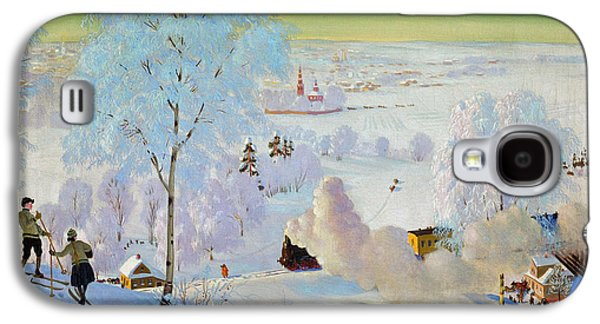 Snow Scene Landscape Paintings Galaxy S4 Cases - Skiers Galaxy S4 Case by Boris Mikhailovich Kustodiev