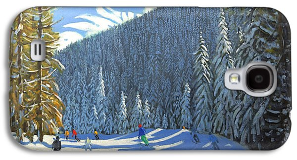 Mountainous Paintings Galaxy S4 Cases - Skiing  Beauregard La Clusaz Galaxy S4 Case by Andrew Macara