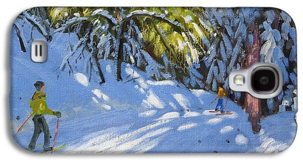 Winter Fun Paintings Galaxy S4 Cases - Skiing through the Woods  La Clusaz Galaxy S4 Case by Andrew Macara