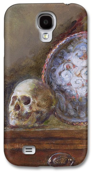 Platter Photographs Galaxy S4 Cases - Skull And Plate Oil On Canvas Galaxy S4 Case by Gail Schulman
