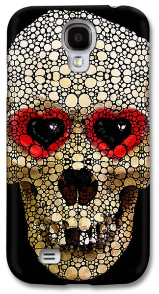Skull Art - Day Of The Dead 3 Stone Rock'd Galaxy S4 Case by Sharon Cummings