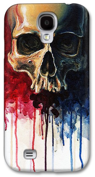 Drips Paintings Galaxy S4 Cases - Skull Galaxy S4 Case by David Kraig