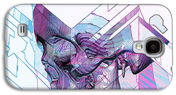 Blue Abstracts Tapestries - Textiles Galaxy S4 Cases - Skull Glitch Galaxy S4 Case by Marcus Mattern