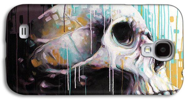 Drip Paintings Galaxy S4 Cases - Skull Galaxy S4 Case by Jeremy Scott