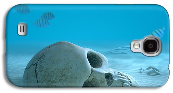 Small Galaxy S4 Cases - Skull on sandy ocean bottom Galaxy S4 Case by Johan Swanepoel