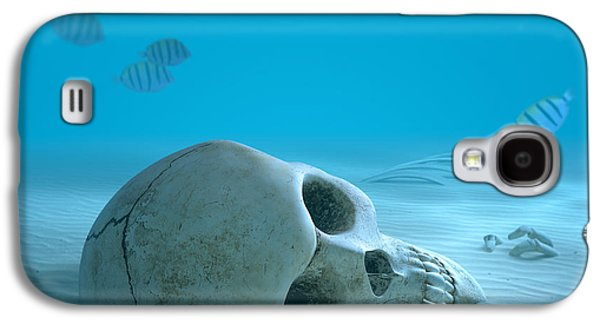 Creepy Galaxy S4 Cases - Skull on sandy ocean bottom Galaxy S4 Case by Johan Swanepoel