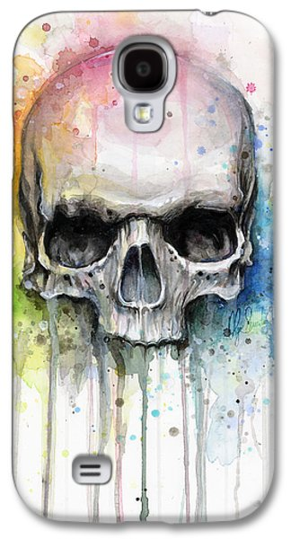 Drawing Galaxy S4 Cases - Skull Watercolor Painting Galaxy S4 Case by Olga Shvartsur