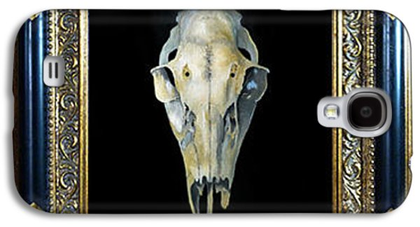 Catherine White Paintings Galaxy S4 Cases - Skull With Aura Framed Galaxy S4 Case by Catherine Twomey