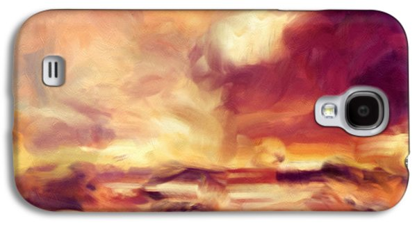 Sunset Abstract Mixed Media Galaxy S4 Cases - Sky Fire Abstract Realism Galaxy S4 Case by Georgiana Romanovna