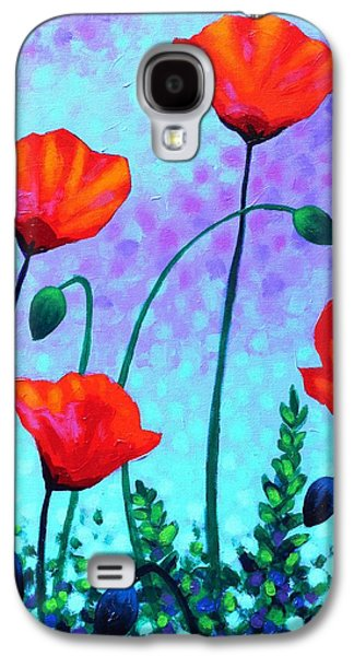Landscape Acrylic Prints Paintings Galaxy S4 Cases - Sky Poppies Galaxy S4 Case by John  Nolan