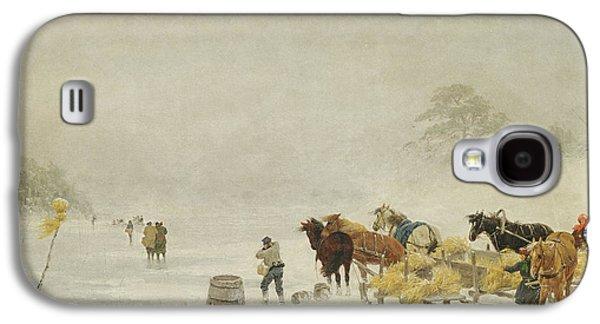 Sledge Galaxy S4 Cases - Sledges On The Ice, 1873 Oil On Canvas Galaxy S4 Case by Arthur Nikutowski