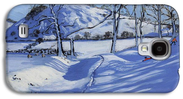 Winter Fun Paintings Galaxy S4 Cases - Sledging  Derbyshire Peak District Galaxy S4 Case by Andrew Macara