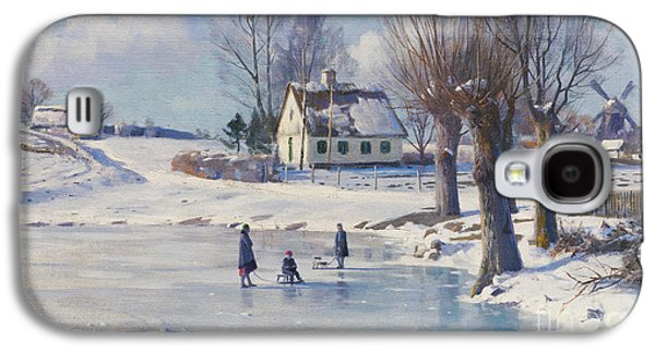 Sledging On A Frozen Pond Galaxy S4 Case by Peder Monsted