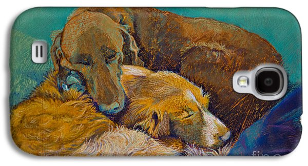 Dogs Pastels Galaxy S4 Cases - Sleeping Double in a Single Bed Galaxy S4 Case by Tracy L Teeter