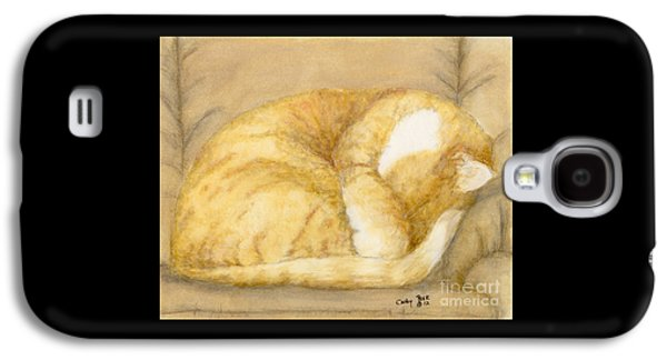 Orange Tabby Paintings Galaxy S4 Cases - Sleeping Orange Tabby Cat Feline Animal Art Pets Galaxy S4 Case by Cathy Peek