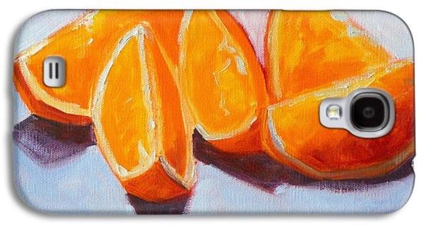 Tangerine Paintings Galaxy S4 Cases - Sliced Galaxy S4 Case by Nancy Merkle