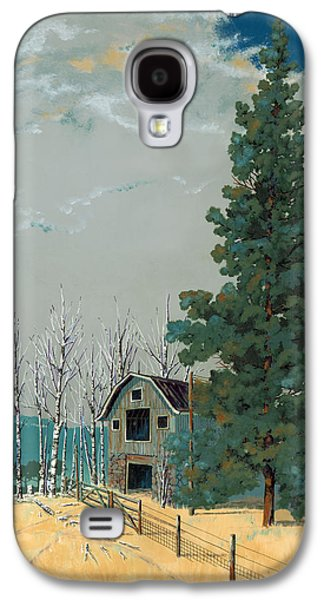 Pine Paintings Galaxy S4 Cases - Small Barn Big Pine Galaxy S4 Case by John Wyckoff