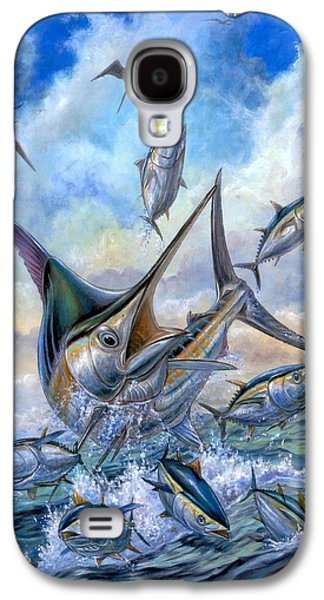 Marlin Galaxy S4 Cases - Small Tuna And Blue Marlin Jumping Galaxy S4 Case by Terry Fox