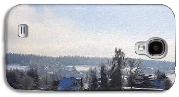 Snowy Digital Art Galaxy S4 Cases - Small Village Galaxy S4 Case by Aged Pixel