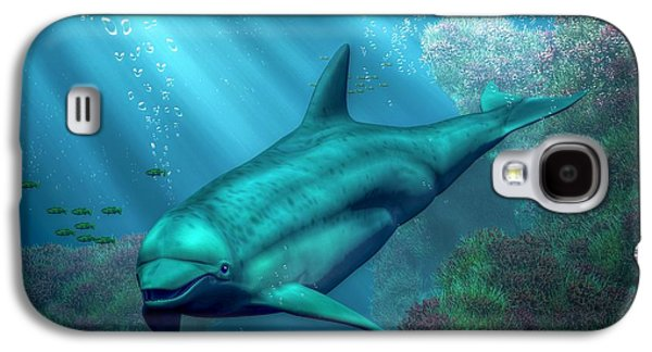 Dolphin Digital Galaxy S4 Cases - Smiling Dolphin Galaxy S4 Case by Daniel Eskridge