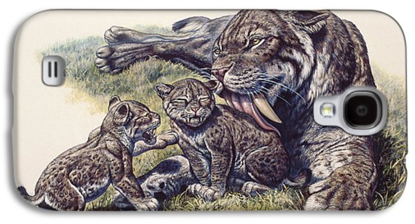 Lying Digital Art Galaxy S4 Cases - Smilodon Sabertooth Mother And Her Cubs Galaxy S4 Case by Mark Hallett