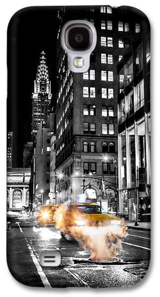 Cab Galaxy S4 Cases - Smoking Streets Of New York  Galaxy S4 Case by Az Jackson
