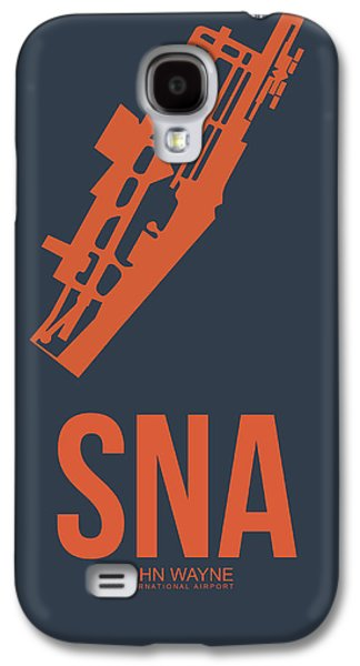 Orange Mixed Media Galaxy S4 Cases - SNA Orange County Airport Poster 1 Galaxy S4 Case by Naxart Studio
