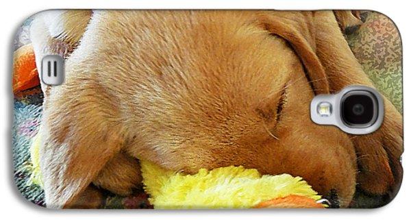 Puppies Galaxy S4 Cases - Snoozing With My Duck Fell Asleep On A Job Puppy Galaxy S4 Case by Irina Sztukowski