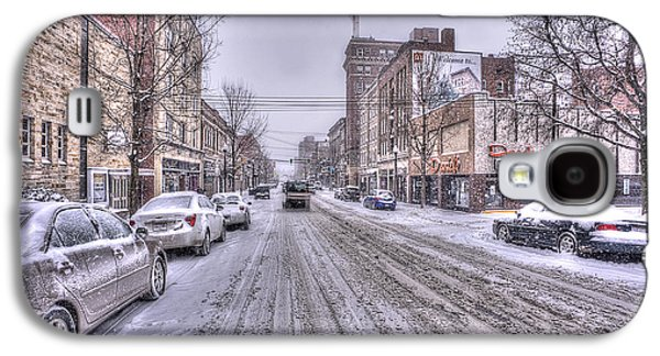 Dan Friend Galaxy S4 Cases - Snow covered high street and cars in Morgantown Galaxy S4 Case by Dan Friend