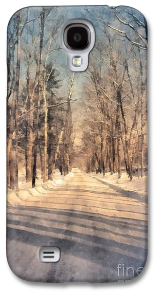 Maine Roads Galaxy S4 Cases - Snow Covered New England Road Galaxy S4 Case by Edward Fielding