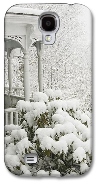 Maine Winter Galaxy S4 Cases - Snow Covered Porch Galaxy S4 Case by Keith Webber Jr
