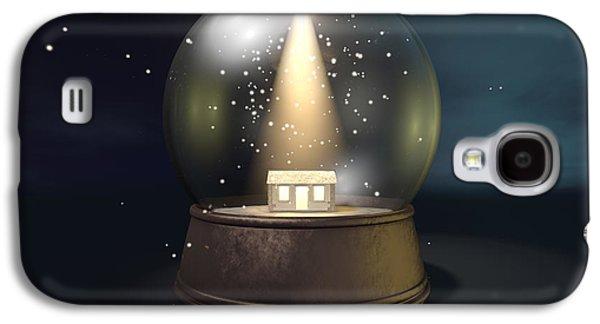 Star Of Bethlehem Galaxy S4 Cases - Snow Globe Nativity Scene Night Galaxy S4 Case by Allan Swart