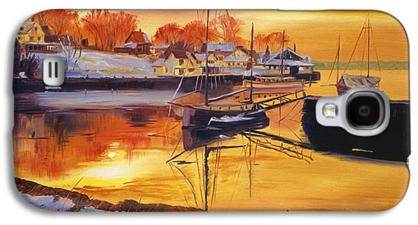 New England Village Galaxy S4 Cases - Snow Harbor Galaxy S4 Case by David Lloyd Glover