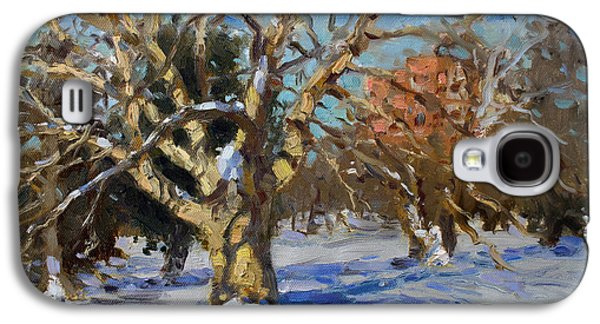 Snow Paintings Galaxy S4 Cases - Snow in Goat Island Park  Galaxy S4 Case by Ylli Haruni