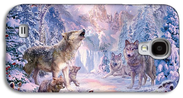 Wolves Digital Galaxy S4 Cases - Snow Landscape Wolves Galaxy S4 Case by Jan Patrik Krasny