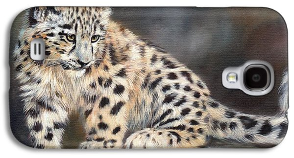 Snow Paintings Galaxy S4 Cases - Snow Leopard Cub Galaxy S4 Case by David Stribbling