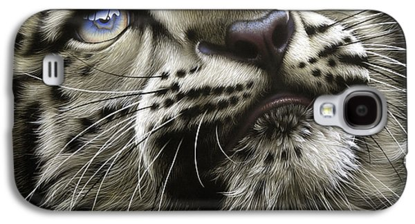 Snow Galaxy S4 Cases - Snow Leopard Cub Galaxy S4 Case by Jurek Zamoyski