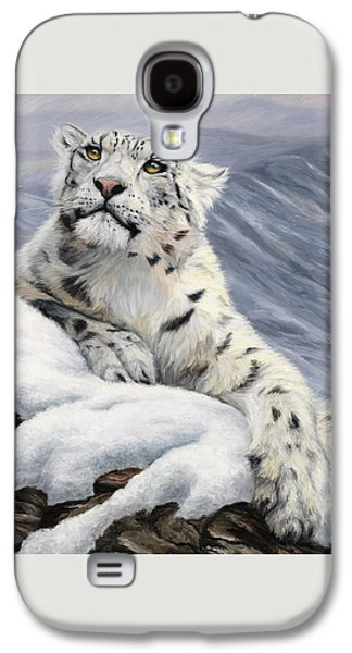 Snow Paintings Galaxy S4 Cases - Snow Leopard Galaxy S4 Case by Lucie Bilodeau
