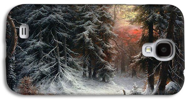 Slush Galaxy S4 Cases - Snow Scene in the Black Forest Galaxy S4 Case by Carl Friedrich Wilhelm Trautschold