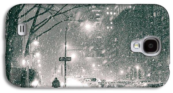 Winter Night Galaxy S4 Cases - Snow Swirls at Night in New York City Galaxy S4 Case by Vivienne Gucwa
